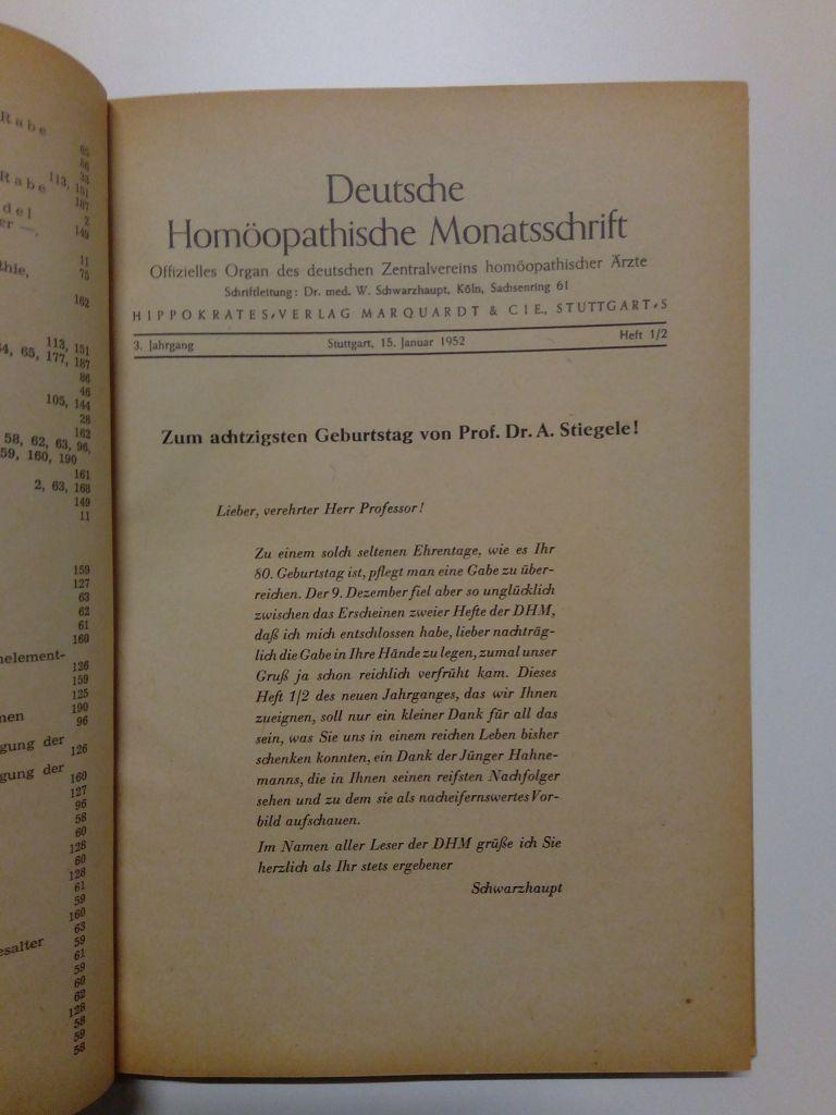 Deutsche Homöopathische Monatsschrift. Offizielles Organ des Deutschen Zentralvereins homöopathischer Ärzte; Jahrgang 1952 in einem Band (Heft 1-12 komplett)